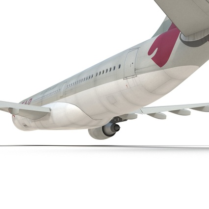 Jet Airliner Airbus A330-200 Qatar. Render 36