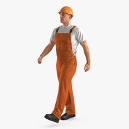 Builder Wearing Orange Coveralls with Hardhat Walking Pose