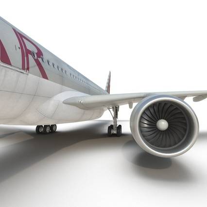 Jet Airliner Airbus A330-300 Qatar Rigged. Render 46