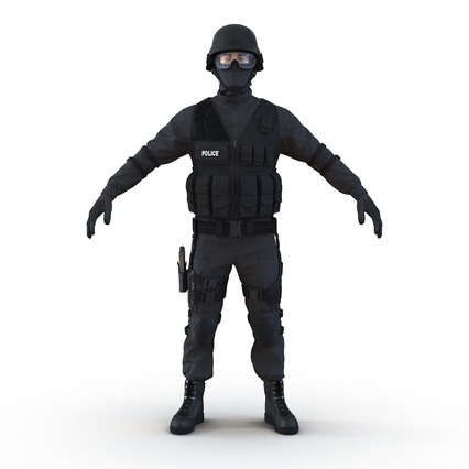 SWAT Man Mediterranean Rigged for Maya. Render 2