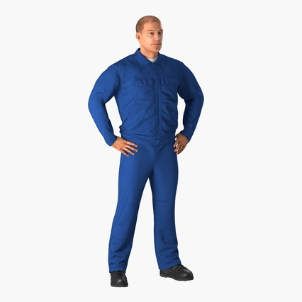 Construction Worker Blue Overalls Standing Pose. Render 3