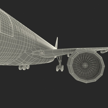 Jet Airliner Airbus A330-300 Emirates Rigged. Render 66