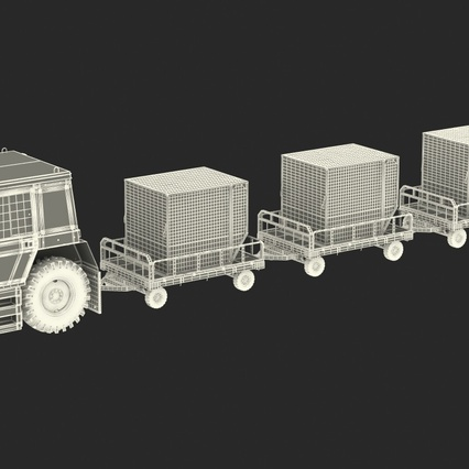 Push Back Tractor Hallam HE50 Carrying Passengers Luggage Rigged. Render 4