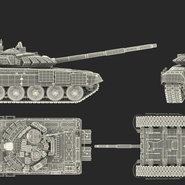 T72 Main Battle Tank Camo Rigged. Preview 25