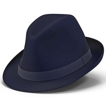 Fedora Hat Blue. Render 2