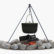 Campfire with Tripod and Cooking Pot. Preview 6