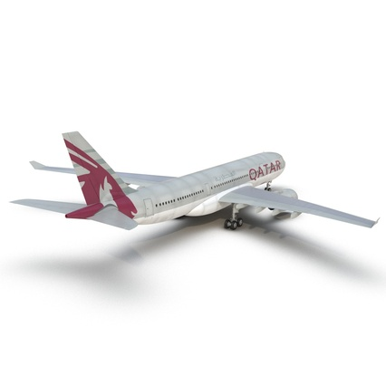 Jet Airliner Airbus A330-200 Qatar. Render 22