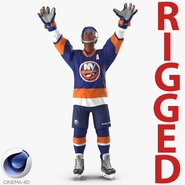Hockey Player Islanders Rigged for Cinema 4D