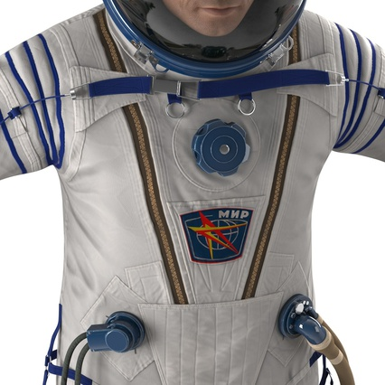 Russian Astronaut Wearing Space Suit Sokol KV2 Rigged for Maya. Render 35