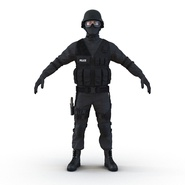 SWAT Man Mediterranean Rigged for Cinema 4D. Preview 2