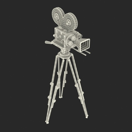 Vintage Video Camera and Tripod. Render 38