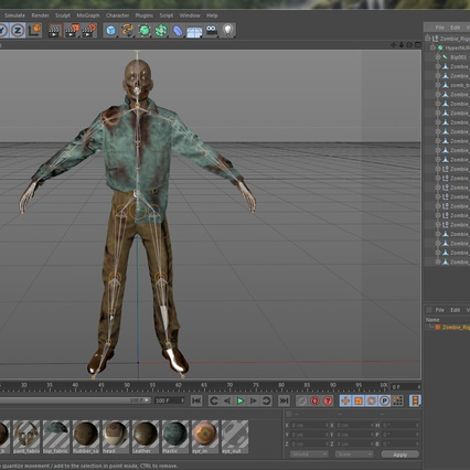 Zombie Rigged for Cinema 4D. Render 53