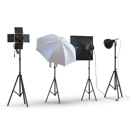 Photo Studio Lamps Collection. Render 6