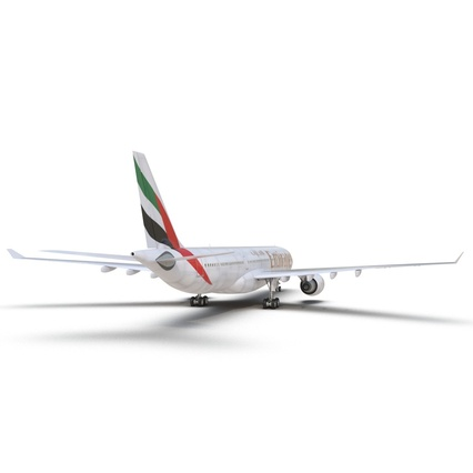 Jet Airliner Airbus A330-300 Emirates Rigged. Render 33