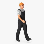 Construction Worker Black Overalls with Hardhat Walking Pose
