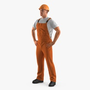 Worker In Orange Overalls with Hardhat Standing Pose