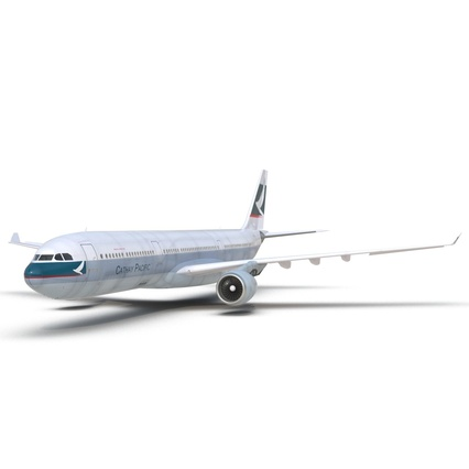 Jet Airliner Airbus A330-300 Cathay Pacific Rigged. Render 20