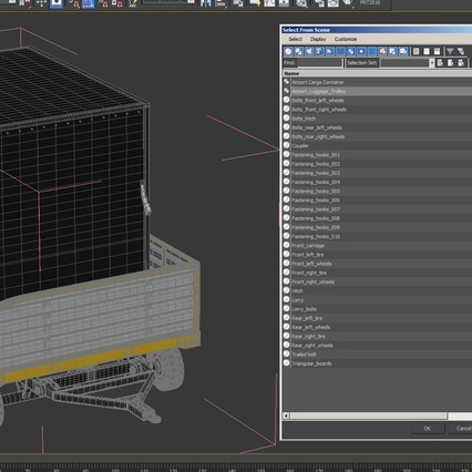 Airport Luggage Trolley with Container. Render 21