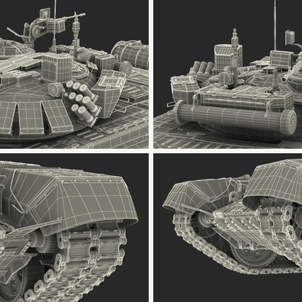 T72 Main Battle Tank Camo Rigged. Render 26