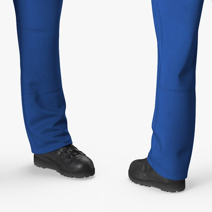 Construction Worker Blue Overalls Standing Pose. Render 12