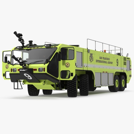 Oshkosh Striker 4500 Aircraft Rescue and Firefighting Vehicle Rigged. Render 1