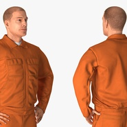 Factory Worker Orange Overalls Standing Pose. Preview 8