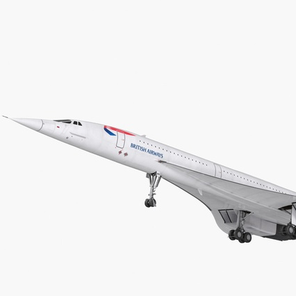 Concorde Supersonic Passenger Jet Airliner British Airways Rigged. Render 4