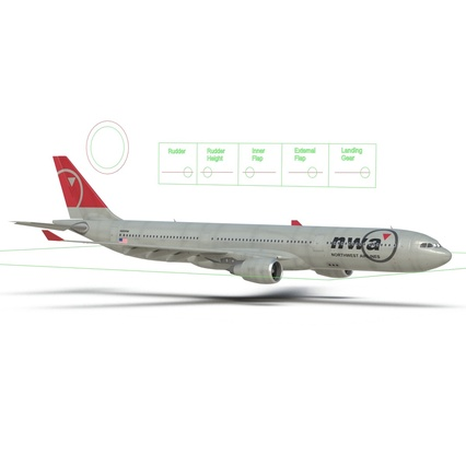 Jet Airliner Airbus A330-300 Northwest Airlines Rigged. Render 50