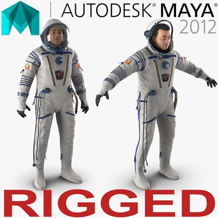 Russian Astronaut Wearing Space Suit Sokol KV2 Rigged for Maya. Render 1