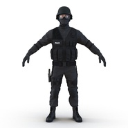 SWAT Man Mediterranean Rigged for Cinema 4D. Preview 9