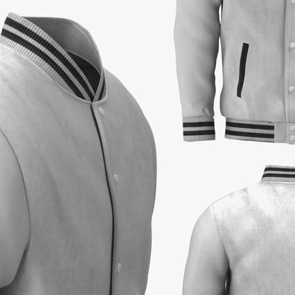 White Baseball Jacket. Render 8