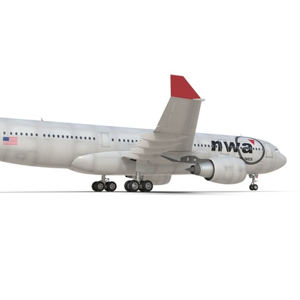Jet Airliner Airbus A330-200 Northwest Airlines Rigged. Render 35