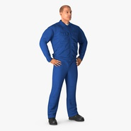 Construction Worker Blue Overalls Standing Pose. Preview 2