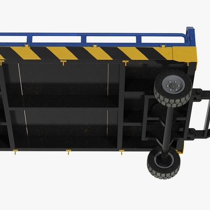 Airport Tug Clark CT30 Carrying Passengers Luggage. Render 16