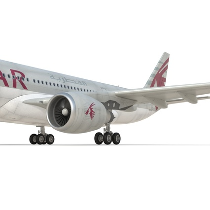 Jet Airliner Airbus A330-200 Qatar. Render 39