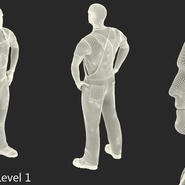 Construction Worker Black Uniform Standing Pose. Preview 17