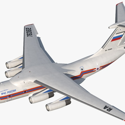 Ilyushin Il-76 Emergency Russian Air Force Rigged. Render 2