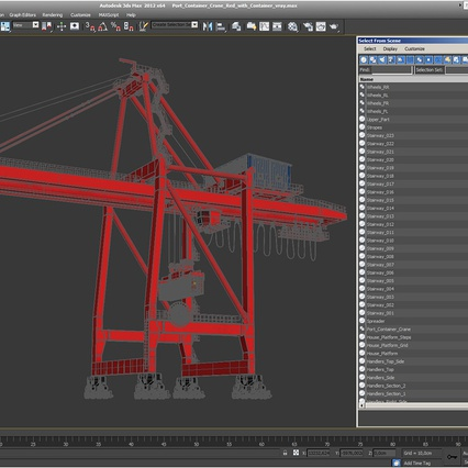 Port Container Crane Red with Container. Render 42