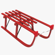 Snow Wooden Sled Red