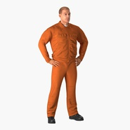 Factory Worker Orange Overalls Standing Pose. Preview 3