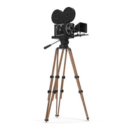 Vintage Video Camera and Tripod. Render 5