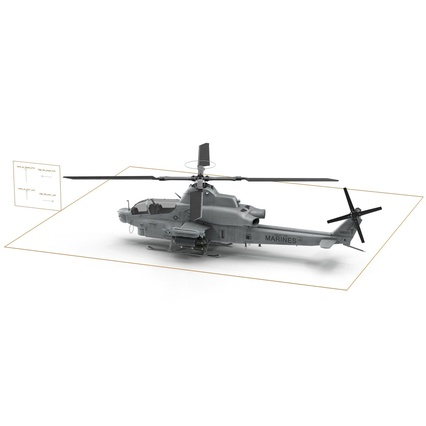 Attack Helicopter Bell AH 1Z Viper Rigged. Render 84