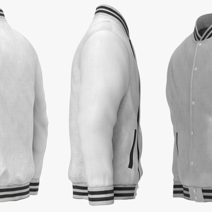 White Baseball Jacket. Render 9