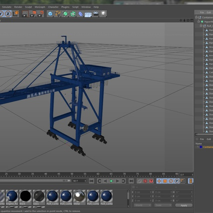 Container Crane Blue. Render 38