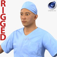 Male Surgeon Asian Rigged with Blood 2 for Cinema 4D
