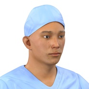 Male Surgeon Asian Rigged with Blood 2 for Cinema 4D. Preview 23