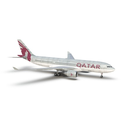 Jet Airliner Airbus A330-200 Qatar. Render 3