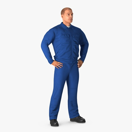Construction Worker Blue Overalls Standing Pose. Render 1