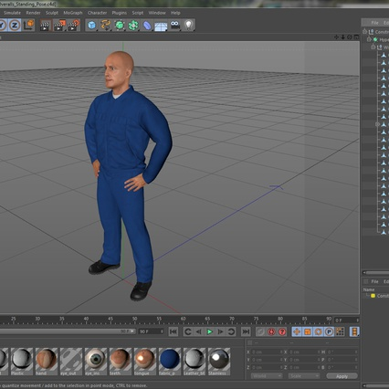 Construction Worker Blue Overalls Standing Pose. Render 22