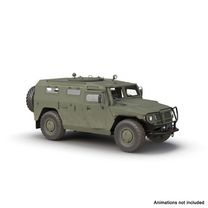 Russian Mobility Vehicle GAZ Tigr M Rigged. Render 4
